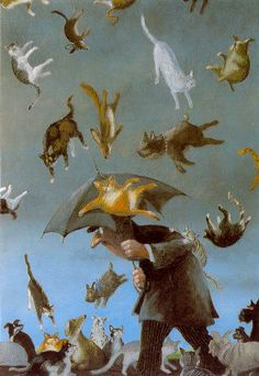 Visual representation of idioms: Raining cats and dogs.