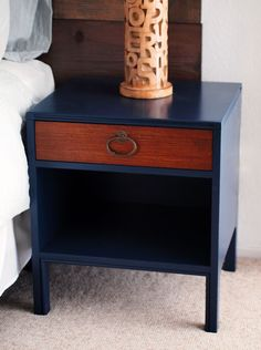 """in some cases i can endorse painting wood. from happy mundane blog. color: """"Starless Night (UL230-1)"""" from Behr."""