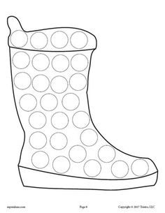 Snow Boot Do-A-Dot Coloring Page
