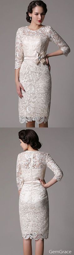 Perfect mature bride wedding dress in beige color. It fits so well, for the free tailor-made service. Elegant 3/4 sleeve unique lace fitted formal dress for elegant brides. This full lace formal dress is popular for mature women's special occasions too. For perfect fit, custom your size and color for free now.