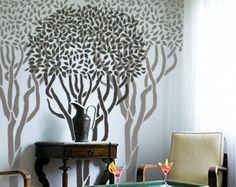 Wall Stencil Reusable  TOPIARY TREE  68 Ft by OliveLeafStencils, $89.95