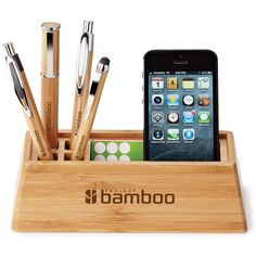 Made from real bamboo, this eco-friendly organiser conveniently stores pens, pencils, smartphones, business cards, and more!