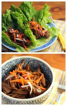 Slow Cooker Shredded Hoisin Beef Lettuce Wraps.