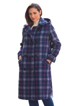 Jessica London&39s Plus Size Petite Wool-Blend Toggle Coat is