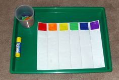 On our Montessori shelves - color graph with tissue paper squares || Gift of Curiosity