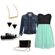 Dress with converse, jean jacket, necklace/earrings, & bag!