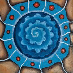 BLUE SPIRAL oil on wood wall decor handmade by JakubJecminekArt
