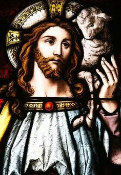 Good Shepherd and lamb stained glass