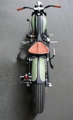Motorcycles. As always, the vintage look is really inspiring, along with the olive drab and saddle leather seat combination--love that.