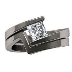 Etoile Square Solitaire - Solitaire Gem - Womens Rings   Titanium Rings, Titanium Wedding Bands, Diamond Engagement Rings