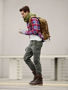plaid shirt, white tee, green cargo pants / men fashion
