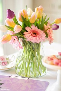 Spring Floral Arrangements and Taxes - Happy Happy Nester Spring Flower Arrangements, Floral Arrangements, Spring Bouquet, Spring Flowers, Pink Gerbera, Spring Home Decor, Do It Yourself Home, Colorful Flowers, Purple Flowers