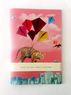 papeterie affiche couleurs animaux zoo motifs elephant zebre panda girafe paper notebook perruche nuages ballons / colors stationery french animals zoo elephant zebra panda girafe Parrot cloud fly balloons orange pattern  herosdefrance