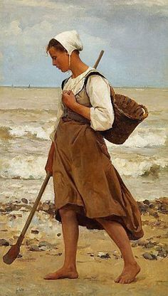 """""""A Fisherman's Daughter on the Beach, Brittany"""" - Laurits Tuxen (Danish, 1853–1927) {figurative art sculptor and painter female walking woman painting #arthistory #nineteenthcentury}"""