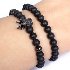 Fashion-Mens-6MM-Matte-Onyx-18kt-Gold-Plated-Zircon-Disco-Crown-Beaded-Bracelet