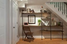 57 ideas for unfinished basement storage ideas diy under stairs Basement Remodel Diy, Basement Renovations, Home Remodeling, Basement Stairs, Open Basement, Basement Ideas, Shelves Under Stairs, Space Under Stairs, Open Shelves