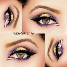 gorgeous violet and gold eye makeup, beautifully done lower lid to give illusion of bigger brighter eyes, bold black eyeliner and mascara