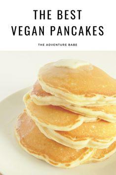 dairy and egg free pancakes Best Vegan Pancakes, Egg Free Pancakes, Vegan Pancake Recipes, Pancakes Easy, Vegan Recipes, Healthy Vegan Breakfast, Dairy Free Breakfasts, Egg Free Recipes, Breakfast Ideas