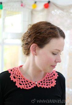 Ravelry: Lucy Collar pattern by Emma Escott Col Crochet, Crochet T Shirts, Crochet Collar, Lace Collar, Crochet Gifts, Crochet Yarn, Crochet Clothes, Hand Crochet, Lace Patterns
