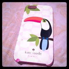 Used Kate Spade Toucan iPhone 5 Case! Cute pre-loved Kate Spade iPhone 5/5s phone case! The back has an adorable toucan from their collection two summers ago! Also has some scratches, which I tried to show in the pictures! The phone case has two parts-- the hard shell and a softer lining to protect your phone! Originally 40$ open to offers! kate spade Accessories Phone Cases