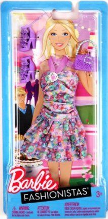 Barbie Fashionistas - Purple Floral Dress by Mattel. $8.99. Included Shoes and Purse. Barbie and her friends will be the stars of the red carpet in these gorgeous evening dresses with matching purse and shoes.  The set includes a complete outfit with shoes and accessories.