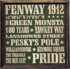 """Country Marketplace - Vintage Boston #Fenway Park Wood Sign 18"""" x 18""""(http://www.countrymarketplaces.com/vintage-boston-fenway-park-wood-sign-18-x-18/)"""