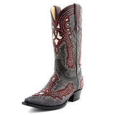 Corral Studded Red Overlay Cowboy Boots|All Mens Cowboy Boots