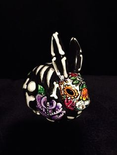 Bunny Day of the Dead Painted Sugar Skull Rabbit  Statue Dia De Los Muertos in Art, Direct from the Artist, Other Art from the Artist | eBay