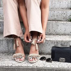 """22.06.2016 - Daily Cup of Couture: On the Fringe. Ever since Aquazzura came out with their """"Wild Thing"""" Fringe Sandals last year, they have been ALL the rage. I am utterly in love with this fun and fabulous shoe as we head into the Summer months. However, if you want the look (without the steep price tag!) these are the perfect option. I also absolutely adore them in this bright colorway to perfectly punch up any look."""