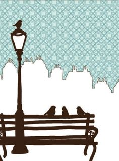 Very sweet indeed. Birds, park bench and lamp with the skyline in the background. Perfect.