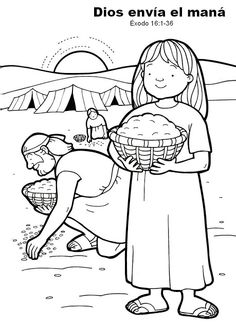 "Good manna graphic/coloring page.  Color, cut out glue to construction paper.  Use hole punch to make several ""wafers"" that can be glued all over the ground."