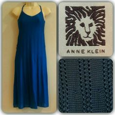"""💙2x🎉HP🎉Anne Klein Knit blue sleeveless dress Slinky, stretchy, cool wearing medium guage knit dress - 59% rayon, 41% cotton blend, lining 100% cotton t-shirt style knit. Color is a cobalt blue, closest to last photo. Approx. 36"""" length, gently used condition, no pills or pulls, has loops for belt or sash (not included). Anne Klein Dresses Midi"""