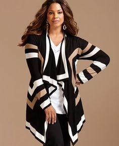 Mode Rondes cardigan - Macy's plus women's clothing Big Girl Fashion, Curvy Fashion, Look Fashion, Plus Size Fashion, Fashion Beauty, Autumn Fashion, Womens Fashion, Cheap Fashion, Fashion Clothes