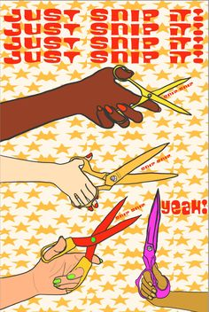 Just Snip It Art Print by Giraffes and Robots by GIRAFFESandROBOTS on Etsy Robot Art, Robots, Your Smile, Make You Smile, Yellow Art, Giraffes, Giclee Print, Color Pop, Pop Art