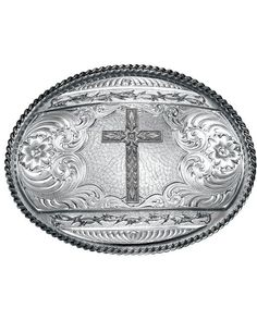 Antiqued Barbed Edge Western Belt Buckle with Engraved Cross (6135RTS-702)