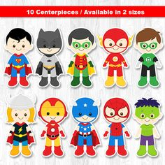 Superhero Centerpiece Superhero Table Centerpiece by KidzParty Superhero Baby Shower, Superhero Birthday Party, 1st Birthday Parties, Superhero Centerpiece, Superhero Party Decorations, Superhero Cake Toppers, Imprimibles Toy Story, Bubble Party, Superman