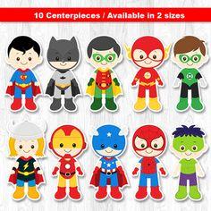 Superhero Centerpiece, Superhero Table Centerpiece, Superhero Cake Topper, Superhero Wall Decor on Etsy, $8.00