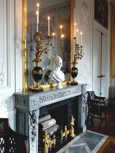 French fireplace and mantel