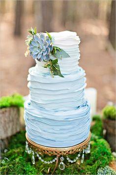 blue ombre ruffle wedding cake with succulent @weddingchicks