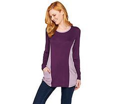 LOGO by Lori Goldstein Knit Top with Color-Block Details