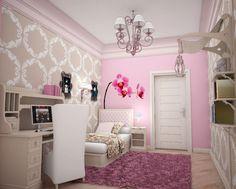 Teenager Zimmer Mädchen Einrichten Rosa Ecru Orchideen Wanddeko