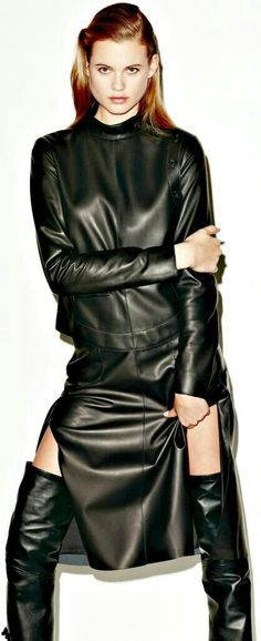 Leather top and maxi skirt with thigh boots runway fashion