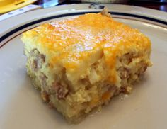 Sausage & Cheese Hash Brown Breakfast Bake Very good. I used 1 1/2 lbs. of sausage and we thought that next time we should try frying up the hash browns first and putting them at the bottom. It may give it a little more texture.