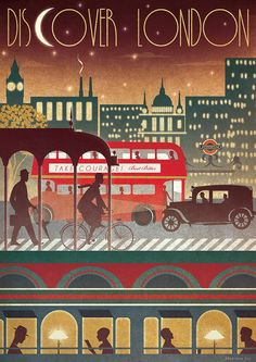 LONDON Transport voyage Bus Métro Train nuit Art par RedGateArts, £18.00