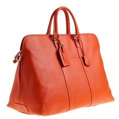 J. Crew deep orange Lugano leather valise
