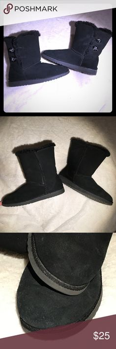 Genuine Suede Leather Fleece Lined Winter Boots Gently loved, no major flaws.  GENUINE SUEDE LEATHER!!!  The high pile Fleece lining makes these EXTREMELY COMFY and warm! Shoes Winter & Rain Boots