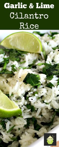 Garlic and Lime Cilantro Rice. A wonderful refreshing side d. - Food RecipesGarlic and Lime Cilantro Rice. A wonderful refreshing side dish using simple… Mexican Food Recipes, Great Recipes, Vegetarian Recipes, Cooking Recipes, Favorite Recipes, Healthy Recipes, Side Dish Recipes, Side Dishes, Dinner Recipes