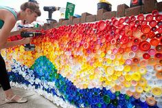 Some People Just Throw Plastic Bottles Away, While Others Make THIS- Our school's art teacher is doing things with recyclables this year.  I'll have to make sure Mr. Garrett sees this!