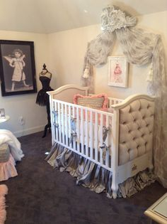 Beautiful silver velvet crib tufted with crystal buttons....the perfect room for the princess in training By Donna Moss Designs. Www.donnamossdesigns.com