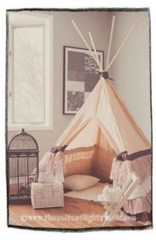 DIY teepee. I love that it looks so elegant alone with being fun for kids.